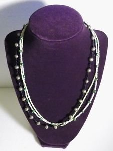 Freshwater Tahitian Necklace Black Green and White 21 Inch