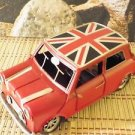 Vintage Red MINI COOPER UNION JACK tin / metal car