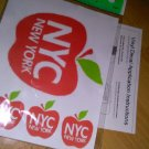 "NYC NEW YORK CLEAR VINYL DECAL SET, 1@ 3"" X 4"", & 3@ 1"" X 1"" RED/ with instructions"