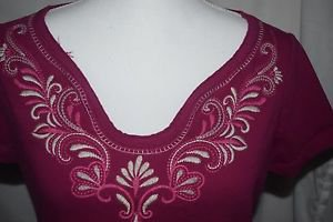 St John's Bay Women's M Medium Classic Tee Knit Shirt Pink