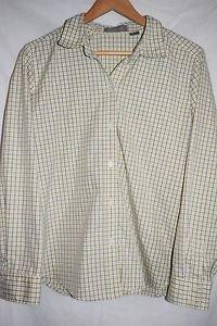 Liz Claiborne XL Yellow/Silver Plaid Button up
