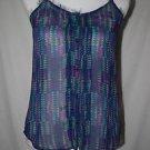 Arizona Jean Co. Women's S Sheer Button Down Spaghetti Strap Tank Top Shirt