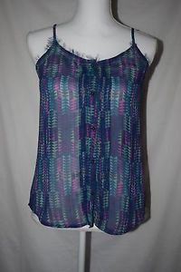 Arizona Jean Co. Women's S Sheer Button Down Spaghetti Strap Tank Top Shirt