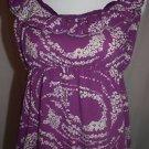 Elle Juniors Small Purple White Swirl Pattern Sleeveless Ruffles