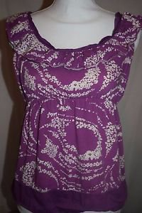 Elle Juniors Small Purple White Swirl Pattern Sleeveless Ruffles