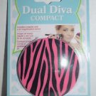 EVRI Dual Diva Compact Mirror Regular and 2x Magnification NEW Black Pink Zebra