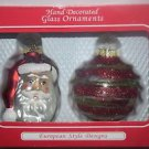 Hand Decorated European Style Designs Glass Ornaments Set of 2