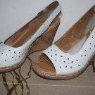 "BOC Born Concept Sz 11 Peep Toe White Cork Wedge Slingback Sandals ""Kacee"""