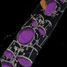 Rock Drum Set Musical Instrument Fancy Novelty Neck Tie
