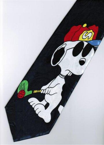Snoopy Dog Big Play Golf Dark Blue Cartoon Fancy Novelty Neck Tie
