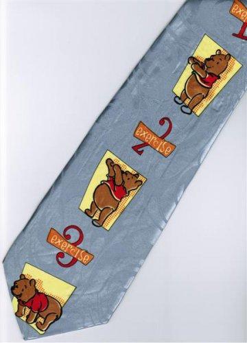 Winnie the Pooh Bear Disney Exercise 123 Silver Cartoon Fancy Novelty Neck Tie