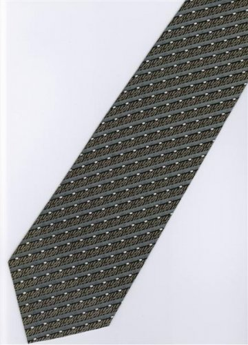 201205 Black White Grey Stripe Neck Tie