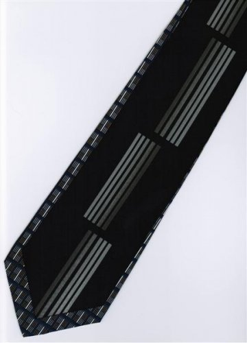 201208 Black Blue White Novelty Neck Tie