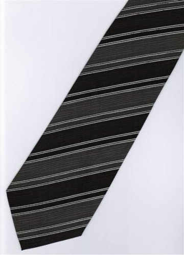 201209 Black White Grey Stripe Neck Tie
