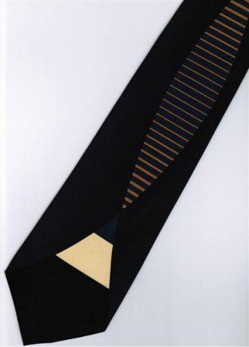 201221 Black Blue Orange Novelty Neck Tie
