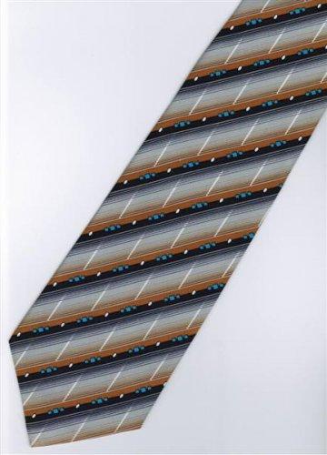 201237 Black Grey Orange White Blue Stripe Neck Tie