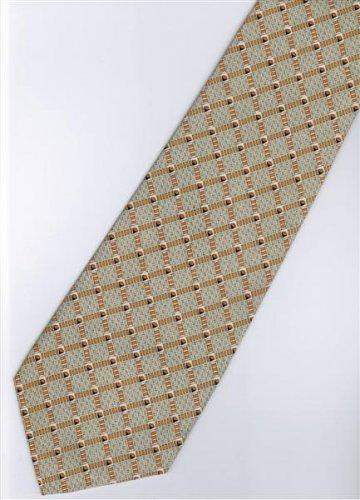 201243 Brown Grey White Stripe Neck Tie