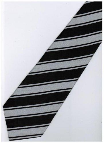 EB7 Black Silver Stripe Neck Tie