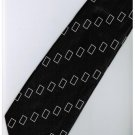 EB10 Black White Box Stripe Neck Tie