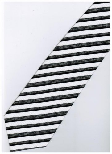 EB17 Black White Stripe Neck Tie