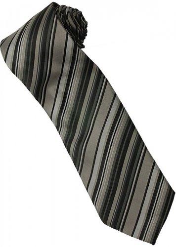 ES3 Silver Black Stripe Neck Tie