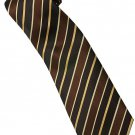 EBR7 Brown Khaki Gold Black Stripe Neck Tie