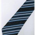 EDB9 Blue Black White Stripe Neck Tie