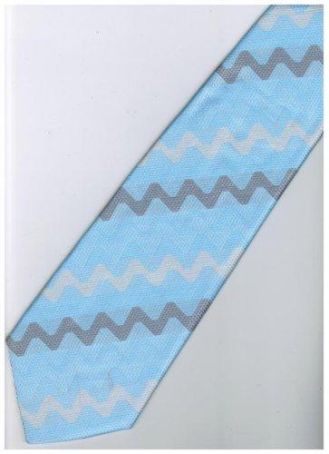 ELB3 Sky Blue White Silver Stripe Neck Tie