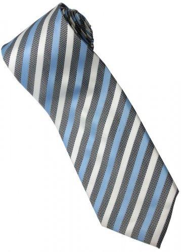ELB6 Sky Blue Black White Stripe Neck Tie