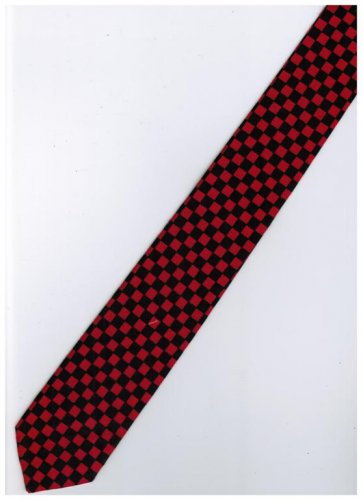 Red Black Slim Stripe Neck Tie