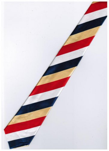 Red Yellow Blue White Slim Stripe Neck Tie