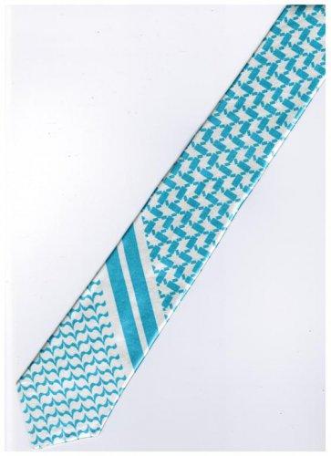 Sky Blue White Slim Stripe Neck Tie