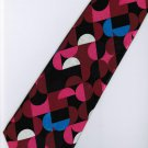 Maroon Pink Black Blue White Stripe Neck Tie