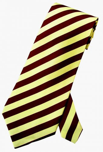 Yellow Maroon Stripe Neck Tie