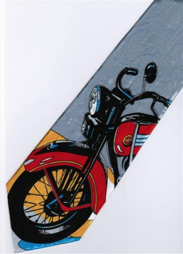Vintage Antique Motorcycle Fancy Novelty Neck Tie