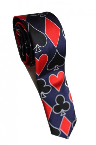 Playing Card Poker Game BLUE Slim Novelty Neck Tie