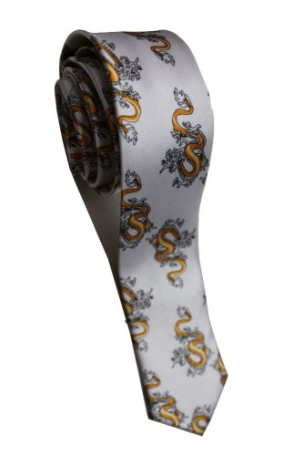 Royal Dragon Animal WHITE Slim Novelty Neck Tie