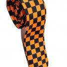 Box Shape Orange  Black Slim Novelty Neck Tie