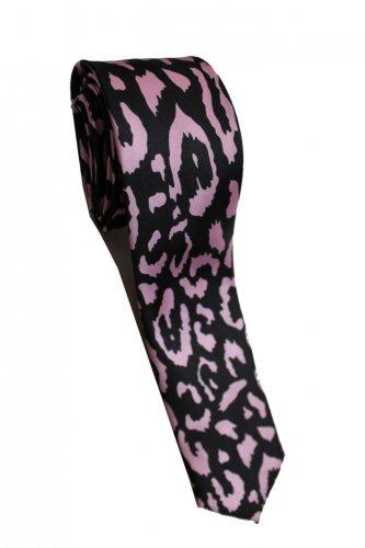 Leopard Spots Pink Black Slim Novelty Neck Tie
