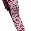 Leopard Spots Red Pink White Slim Novelty Neck Tie