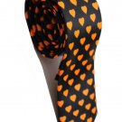 Love Shape Orange Black Slim Novelty Neck Tie