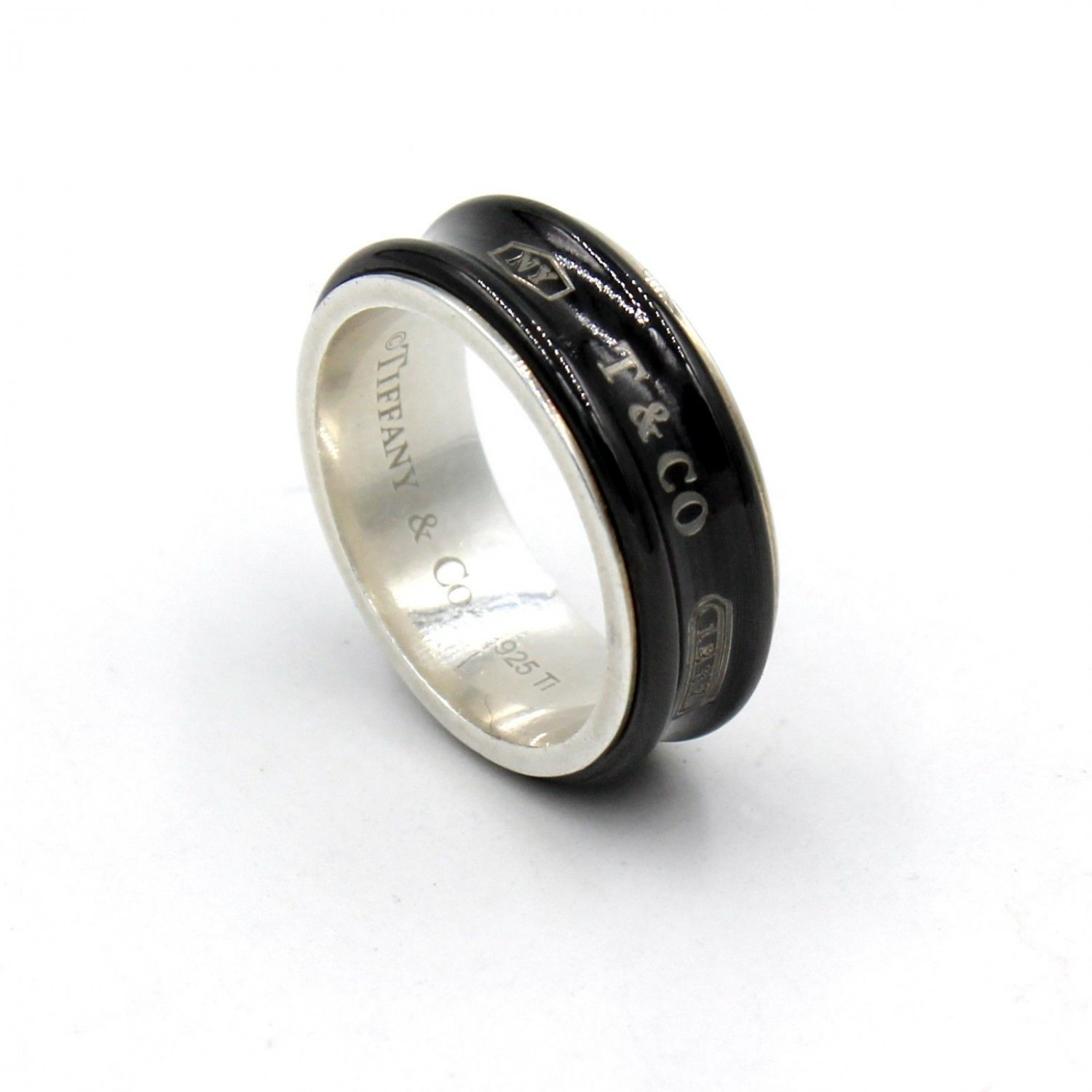 Tiffany & Co. 1837 7mm Band Ring in Titanium and 925 Sterling Silver Size 10