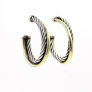 David Yurman Oval Crossover Hoop Earrings in 18k Gold and Sterling Silver