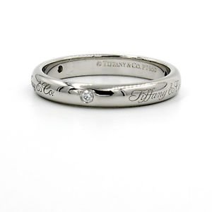 Tiffany & Co Notes 3mm Band Ring in 950 Platinum with 3 Diamonds, Size 6