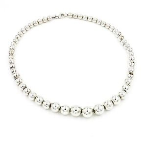 Tiffany & Co. Graduated Bead Necklace in 925 Sterling Silver 16.25""