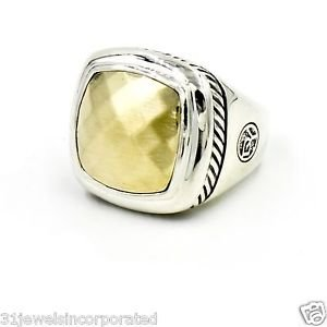 David Yurman 17mm Faceted Gold Albion Ring in Sterling Silver & 18k Gold Size 6