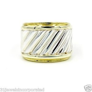 David Yurman Cable Classics Cigar Band Ring 14k Yellow Gold & Sterling Silver