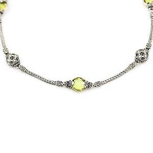 John Hardy Green Amethyst Jaisalmer Station Necklace18k Gold 925 Sterling Silver