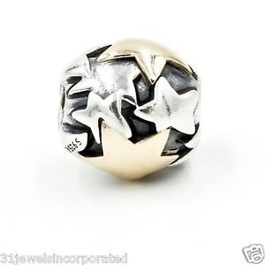 Pandora Golden Star Charm in 925 Sterling Silver and 14k Yellow Gold 790563