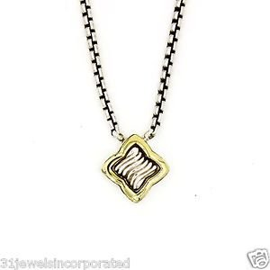 David Yurman Quatrefoil Necklace in 18k Yellow Gold and 925 Sterling Silver, 16""